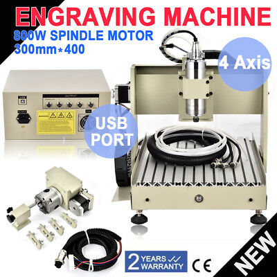 SALE 4 Axis CNC Router Engraver 3D Engraving Machine VFD 3040T Milling Drill USB