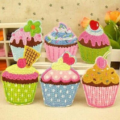 1pcs Ice Cream Embroidery Cloth Iron On Patch Sewing Motif Applique 5x5cm B9q