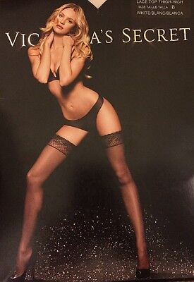 Victoria's Secret Lace Top Thigh- High Stockings, B, White