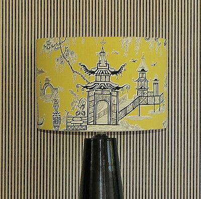 CLEARANCE: Aus Made Lampshade, Black/White/Yellow Drum, 38x26cm Au Fitting