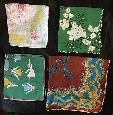 "ANT LOT OF 4 Fine FRENCH PRINT HANDKERCHIEFS. From ""10 1/2"" to 16 1/2""."