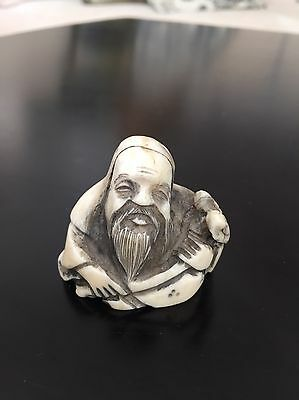 Antique Authentic Signed Netsuke - Bald man with instrument