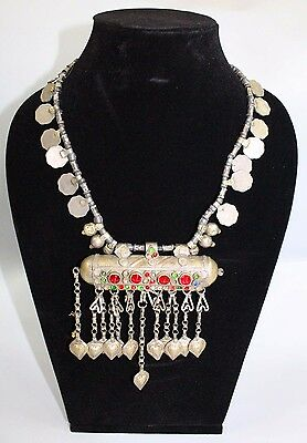 Vintage Afghan jewelry, Old Ethnic necklace, Berber necklace, nomadic, coin neck