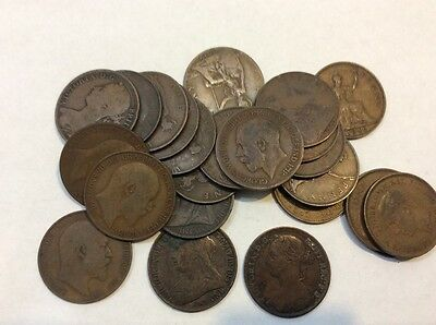 Great Britain large pennies, lot of 24