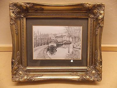 """Frame Miniature Pencil Drawing of Canal Scene - Signed """"Chris Dobson '85"""""""