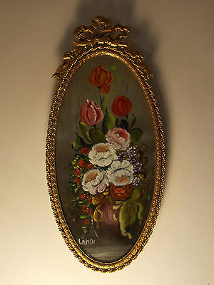 "Beautiful Gilt Framed Italian Miniature Still Life Oil Painting - Signed ""LANDI"""
