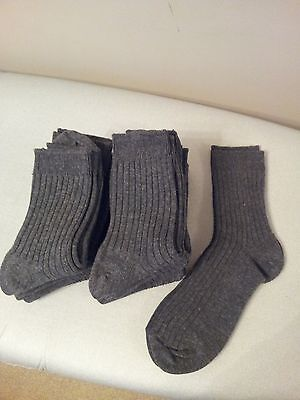 12 PAIRS BOYS RIBBED ANKLE GREY SCHOOL / CASUAL SOCKS, SIZE 12H - 3H ( Age 7-11)