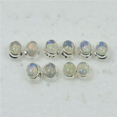 925 Solid Sterling Silver Wholesale 5Pair Naturalwelo Ethiopian Opal Earring Lot