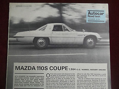MAZDA 110S COUPE wankel rotary 1968 Autocar Road Test