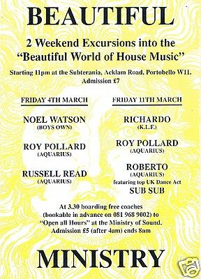 BEAUTIFUL Rave Flyer Flyers 4/3/94 & 11/3 A5 The Ministry of Sound & Subterania