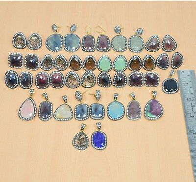Wholesale 26Pc 925 Solid Sterling Silver 24K Goldoverlay Pendant-Earring Mix Lot