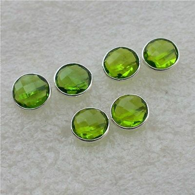 925 Solid Sterling Silver Wholesale 3 Pair Faceted Peridot  Studd Earring Lot