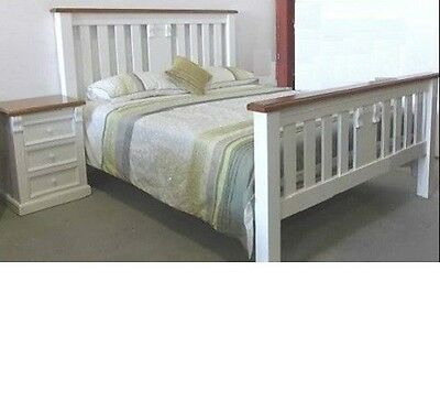 Avalon Timber Queen Bedroom Suite Bed Frame & 2 X Bedside Chest In White