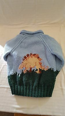 Beautiful Vintage Hand Knit Child's Lined Sweater - Size 10/12 - Dinosaur Design