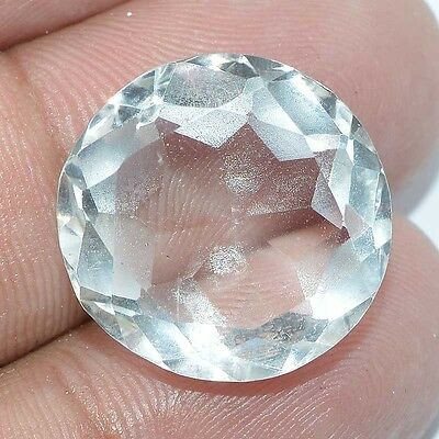18.60 Cts. FACETED CHRYSTAL QUARTZ ROUND LOOSE GEMSTONE SIZE 17X17X12MM BRAZIL