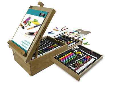 Art Easel Set Coloring Materials Accessories Painting Drawing Wooden Storage Box