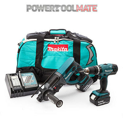 Makita DLX2025M 18v SDS Hammer & Combi Drill Kit c/w 2 x 4.0Ah Batts & Bag