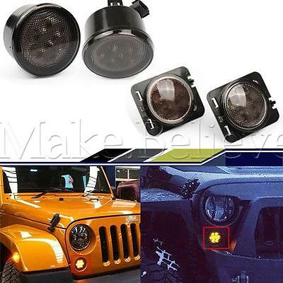 Pair LED Front Smoked Turn Signal Light+2 X Fender Flare Light Amber For Jeep JK