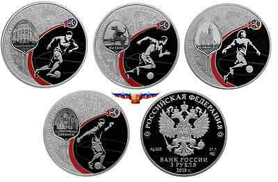 NEW Russia 3 rubles 2018 (2017) Football World Cup 4 coin set Silver PROOF