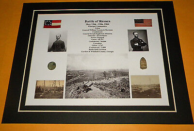 Battle of Resaca Civil War Relic Display Sharpes Dropped Bullet & Flat Button