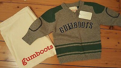 NEW GUMBOOTS Boys Jumper Size 6 Months with cloth bag.