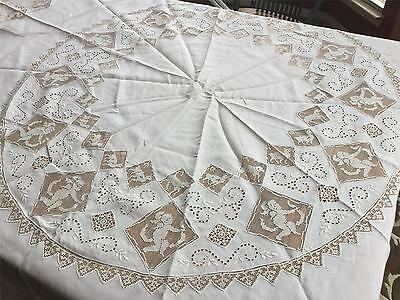 """Hand Emb. FIGURAL Reticella & Needlelace 90"""" Round Tablecloth White Linen TB89"""