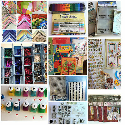 NEW Lot Scrapbooking Paper Embellishments Stamps Punches Ink Markers Dies MORE!