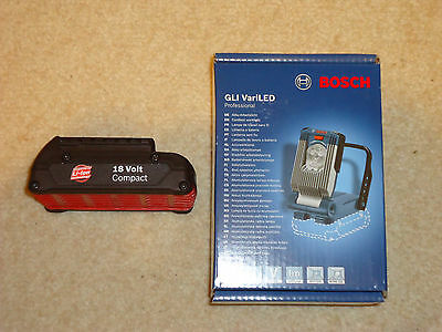 GENUINE BOSCH VARI LED LIGHT TORCH 18VGLI + 18V Li-Ion BATTERY 1.3Ah