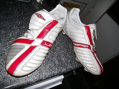 Mens White, Red, Silver Football Boots Size 10