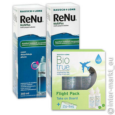 Renu Multiplus 2 x 360 ml + Biotrue Flight Pack 2 x 60 ml