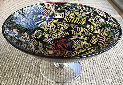 Unique Jonathan Harris Signed Isle of Wight Glass Graal Tazza dated 1993