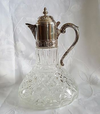 Silver Plated. Beautiful  Crystal Glass  Claret Jug Decanter.