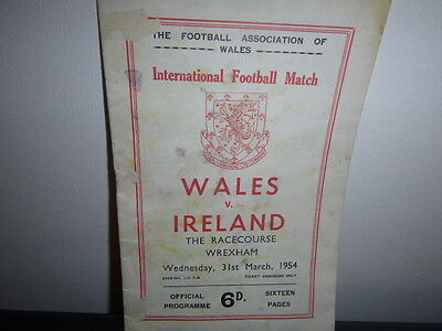 Wales V Ireland Football Programme 1954 At The Racecourse Wrexham