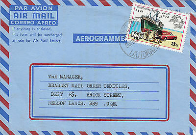 D 132 Fiji 1974 private aerogramme commercially used, UPU stamp