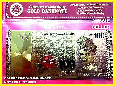 Malaysia Color Gold 100 Ringgit 2011 Bank Note  Red Flower Banknote  24K+ Coa