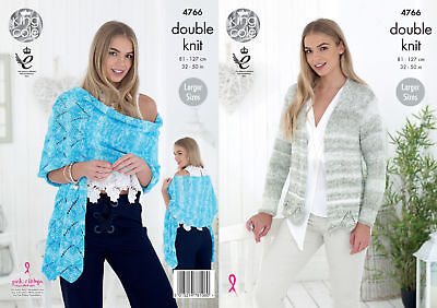 King Cole Ladies Double Knitting DK Pattern Lace Detail Cardigan & Shawl 4766