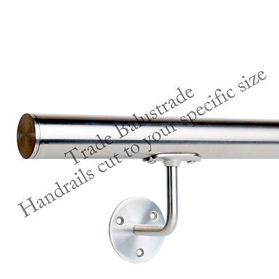 Stainless Steel Handrail with Brackets and Flat End Caps - Fast delivery