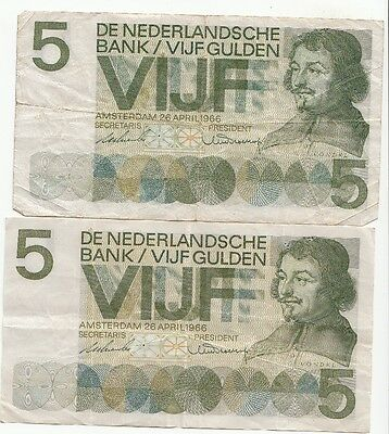 Lot de 2 billets de 5 gulden 26 avril 1966