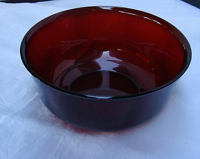 """Large 8 1/2"""" Ruby Red Bowl - Arcoroc France"""