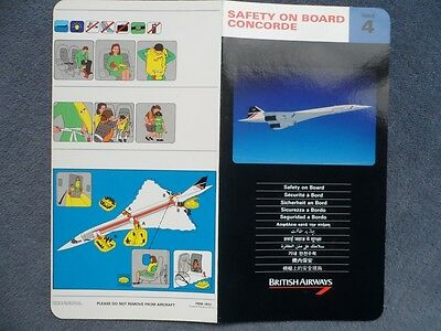 British Airways Concorde Safety Card Issue Number 4 1992.