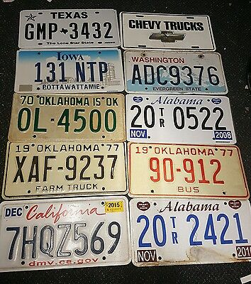 Joblot of 10 Original Old USA Number Plates - American Licence Plate Signs