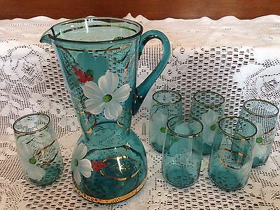 Vintage Blue Bohemia Crystal Water Jug & 6 Glasses Set. Gold Gilt & floral