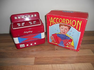 Schylling Childs Kids Toy Red Accordion In Box Squeezebox Musical Instrument