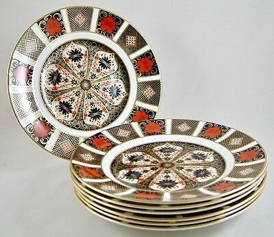 "Royal Crown Derby China Old Imari 1128 8½"" Salad/dessert Plates X 6 1St Perfect!"