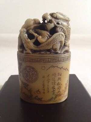 Good Quality Chinese Carved Stone Seal With Carved Dragons And Poem