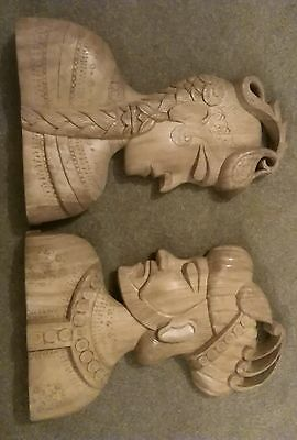 Vintage Pair Hand Carved Wooden Heads - Asian Couple Carved