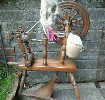 Very rare survivor. An early Victorian Welsh elm flax spinning wheel, c1840s