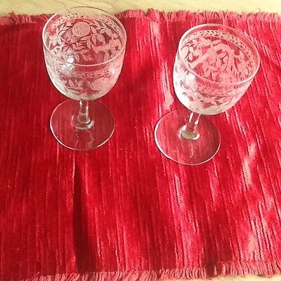 Pair Vintage Etched Liqueur Glasses