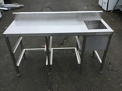 Stainless Steel Behind Counter Bar Single Bowl 4 Tray Sink/Prep Unit