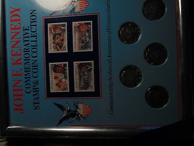 US Coins John F. Kennedy Plaque of Stamps and Kennedy Silver Half Dollars